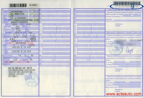 Carte de identitate autovehicul
